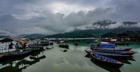 Pokhara-Lake-with-hills-of-Sarangkot